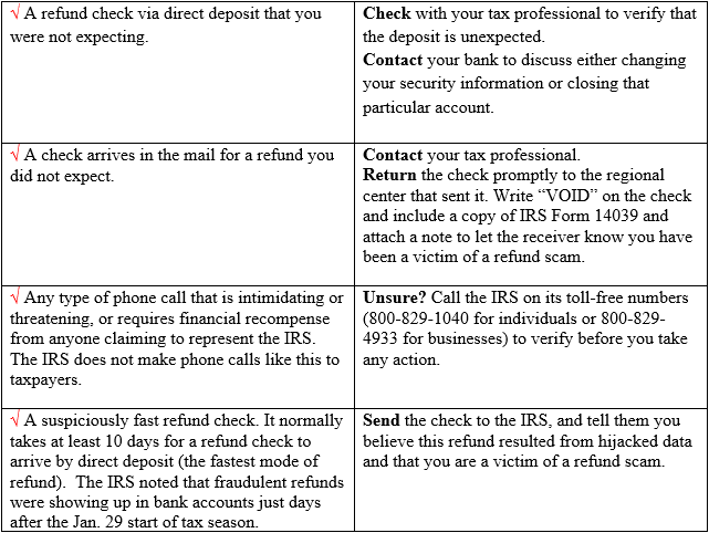 Tip Protect Yourself From Tax Refund Scammers